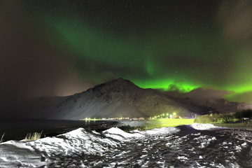 Aurora borealis-Polar lights-Northern lights over Vareid beach. Flakstadoya island-Lofoten-Norway. 0462