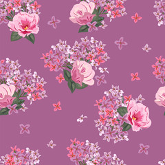 Vintage seamless pattern with cute pink flowers. Hand-drawn floral background for textile, cover, wallpaper, gift packaging, printing.Romantic design for calico.