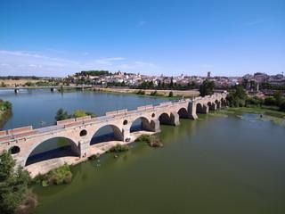 Badajoz desde el aire. Ciudad de Badajoz, Extremadura, España