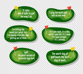 Set of funny quotes about golf with cartoon golf course map backgrounds