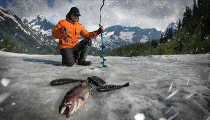 Ice fishing background.