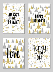 Modern Christmas postcards vector set with lettering calligraphy and background card patterns in gold and silver colors. Christmas cards, xmas banners set, silver and golden backgrounds, wishes text.