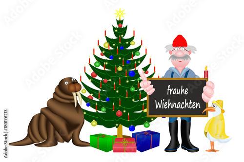 Frohe Weihnachten Plattdeutsch.Weihnachten In Friesland Weisser Hintergrund Stockfotos Und