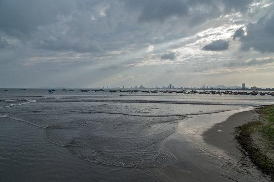 Storm, hurricane clouds on the horizon over bay Nha Trang