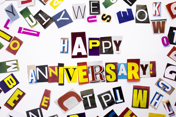 A word writing text showing concept of Happy Anniversary made of different magazine newspaper letter for Business case on the white background with copy space
