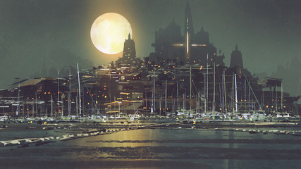 night scenery of port city with moon light, digital art style, illustration painting