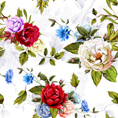 Wild Roses, peony, cornflowers, with leaves and humming bird on background on white. Stylized. Watercolor, hand drawn. Seamless pattern. Vector - stock.