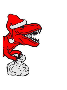 halb kopf weihnachten sack geschenke winter weihnachtsmann mütze nikolaus santa claus brüllen t-rex tyrannosaurus saurier rex fleischfresser groß monster dinosaurier dino böse gefährlich fressen jagen