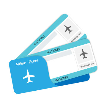 Modern airline travel boarding pass two tickets.