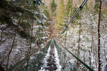 Extreme rope bridge over Hornad River in Slovak Paradise National park, Slovakia