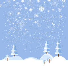 Christmas winter flat landscape background.
