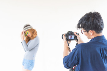 Photographer take a photo hipster girl,selective focus,lifestyle of modern teens