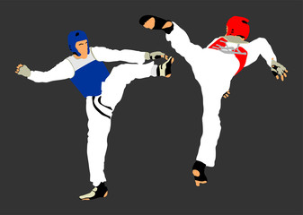 Fight between two taekwondo fighters vector illustration isolated. Sparring on training action. Self defense, defence art exercising concept. Warriors in the martial arts battle. Combat competition.
