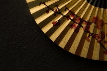 金の扇子 紅梅 黒和紙