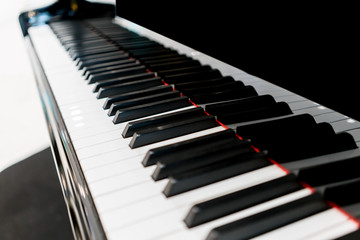Piano keys with shallow depth of field