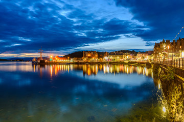 Night view of Oban, Scotland Wall mural