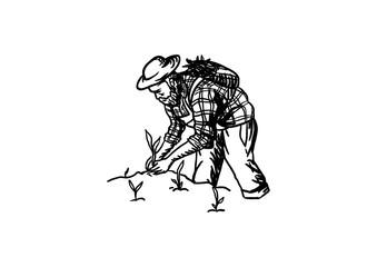 Farmer Planting Plant