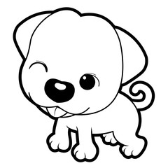 Black And White Cute Style Dog Character Design. Vector Illustration Isolated On White Background.