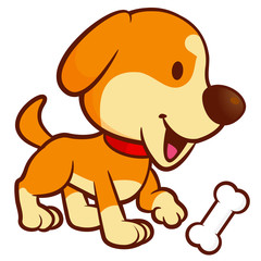 Dog Mascot buried the bone in the yard. Vector Illustration Isolated On White Background.