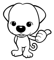 Black And White Puppy Character thumbed up a gesture. Vector Illustration Isolated On White Background.