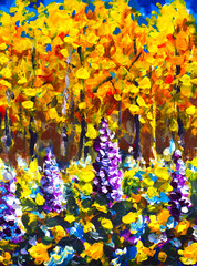 Original oil painting Big Flowers in autumn forest painting. Illustranion orange trees, Purple, white, blue flowers in forest. Beautiful magic expressionism landscape.