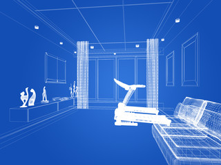sketch design of living room ,3d rendering