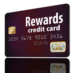 A rewards credit card is isolated on a white background. Goes with idea of credit card points, miles and other rewards.