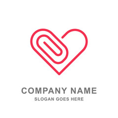 Love Paperclip Book Stationery Logo Vector Icon