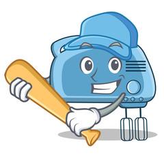 Playing baseball mixer character cartoon style