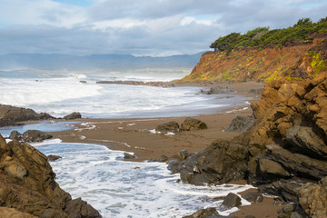 Dramatic Seascape of Rocky Intertidal Zone of Cambria State Marine Conservation Area, California