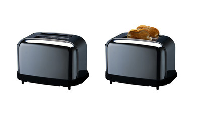 Black toaster with and without bread isolated on white background with clipping mask.