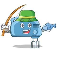 Fishing mixer character cartoon style