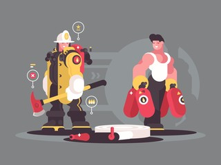 Team firefighters characters