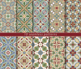 Vector set of ten seamless abstract patterns. Decorative and design elements for textile, book covers, manufacturing, wallpapers, print, gift wrap.
