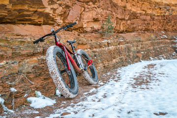 fat bike on canyon trail with snow