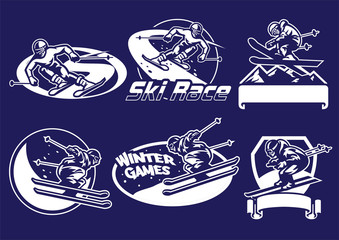set of skiing badge collection
