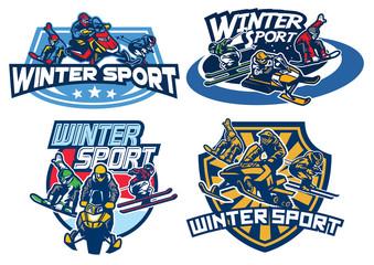set on winter games badge design