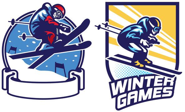 set of skiing sport games badge design