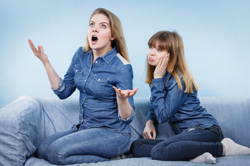 Two women after argue, female being offended