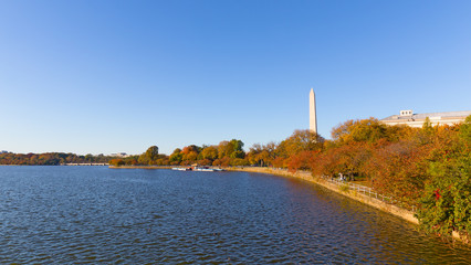 National Monument and panorama around Tidal Basin in autumn. A scenic view on waters of Tidal Basin and nearby landmarks.