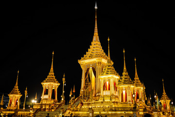 BANGKOK, THAILAND - NOVEMBER 2 2017: The Royal Crematorium for HM King Bhumibol Adulyadej at Sanam Luang. After the ceremony was completed, the crematorium was open for the public.