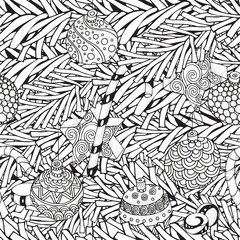 Seamless Winter pattern with christmas tree branch and xmas decoration. Hand-drawn decorative elements in vector. Pattern for coloring book. Black and white. Zentangle