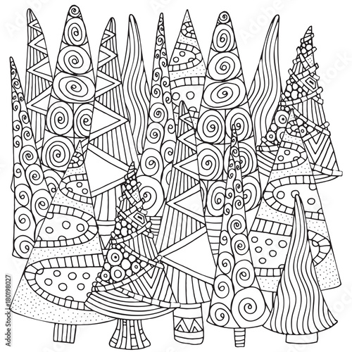 Pattern For Coloring Book Of Christmas Trees Hand Drawn Decorative Elements In Vector