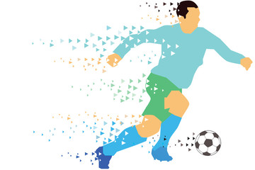 Vector - Soccer player kicks the ball. The colorful vector illustration