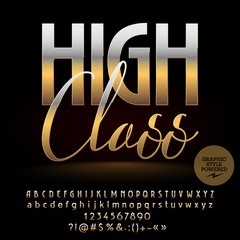 Vector High Class golden Alphabet  letters set, Numbers and Symbols. Chic Font contains Graphic style