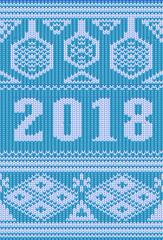 Merry Christmas holidays knitted banner, New 2018 Year, vector illustration