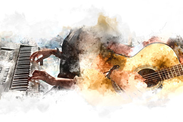 Abstract beautiful playing Guitar and paino in the foreground on Watercolor painting background and Digital illustration brush to art.