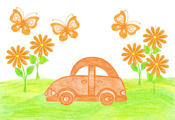 Colorful wallpaper. Orange toy car, flowers and butterflies on green field background. Self- drawn colored pencils picture. Decorative illustration mock up
