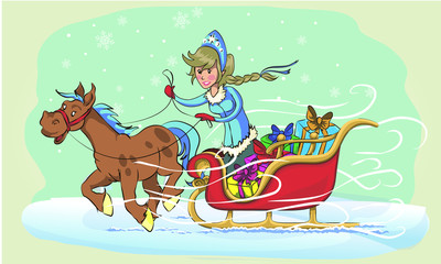 New Year greeting card with cartoon Father Frost and Snow Maiden. Winter holiday Xmas postcard with Ded Moroz and Snegurochka.  the frost rides on the sleigh
