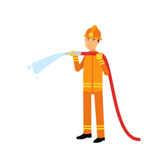 Fireman in uniform and protective helmet, holding hose extinguishing fire with water